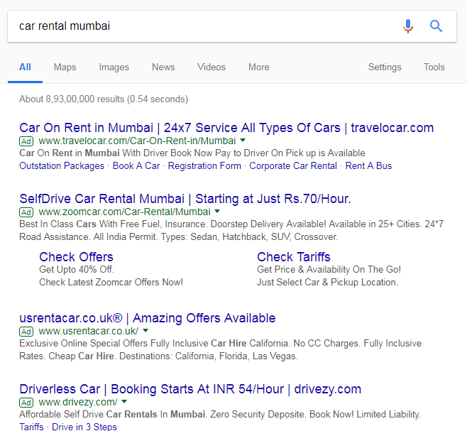 4 ad blocks in Google Ads, 4 top slots in Google Ads, Top 4 ad blocks in Google Ads