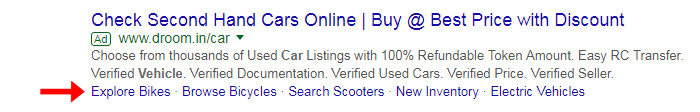 Sitelink extensions, example of sitelink extensions, Google Ads Sitelink Extensions