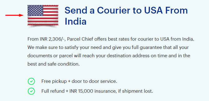 Example of the USA flag shown on the USA courier page