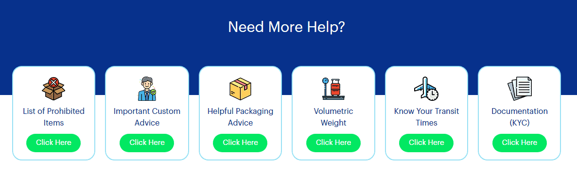 Help & advice section to aid visitors looking for relevant information