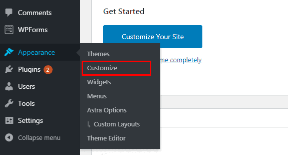 Click Customize to open Customizer in WordPress