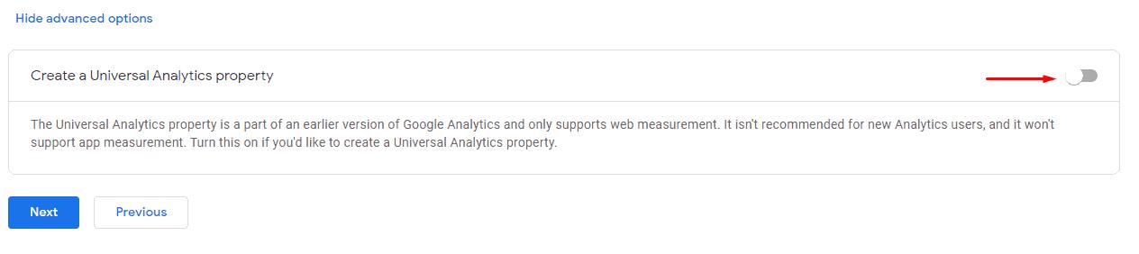 Create Universal Analytics property