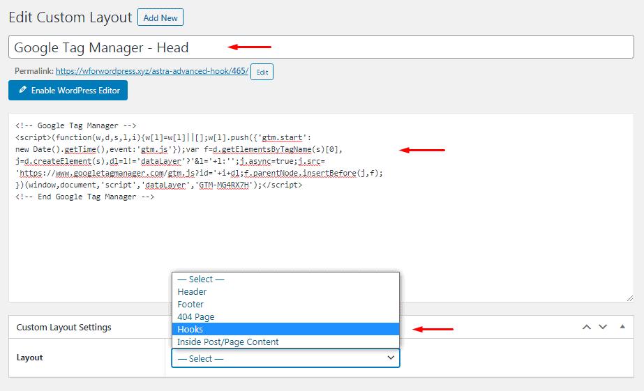 Edit Custom Layout - Google tag manager head code