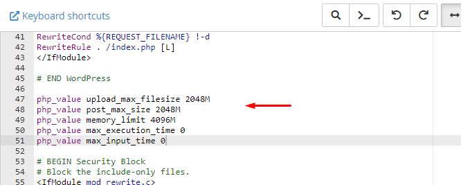 Editing htaccess file with code