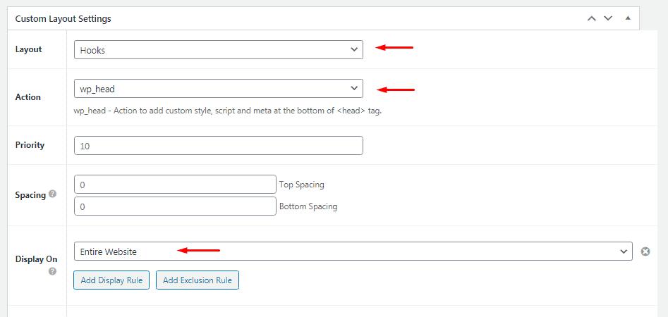 Enter Custom Layout settings for GTM Head