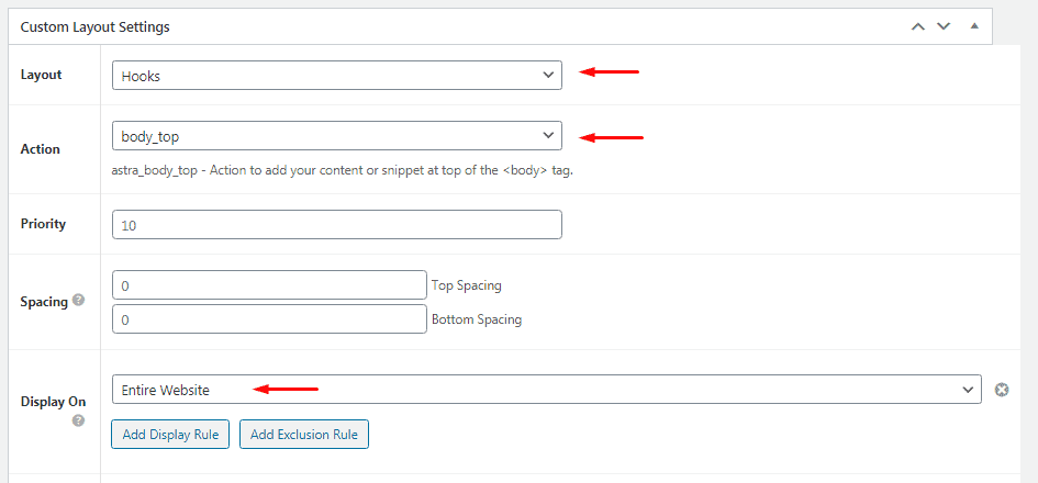 Enter Custom Layout settings for GTM body code