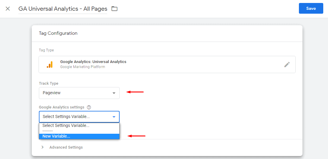 Enter GTM tag configuration details for Universal analytics