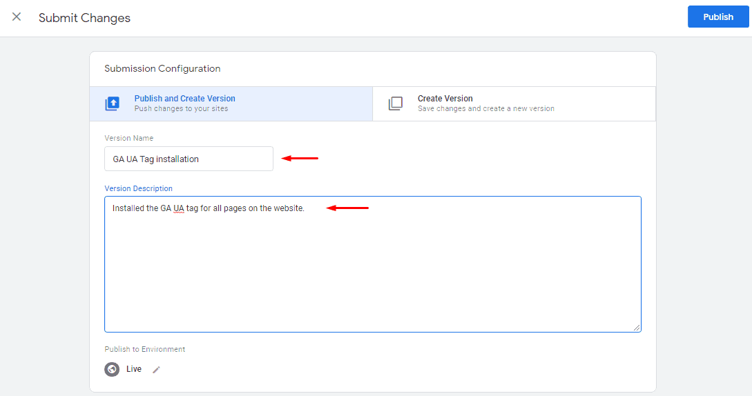 GA Universal Analytics tag - Version name