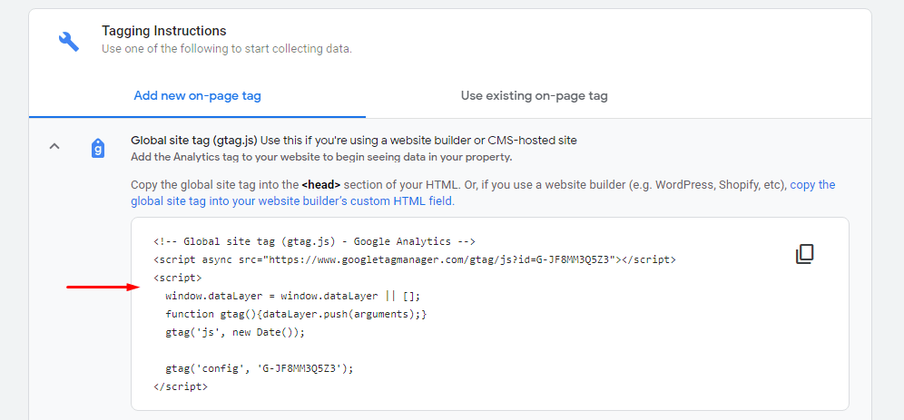 Global site tag snippet in Google Analytics 4