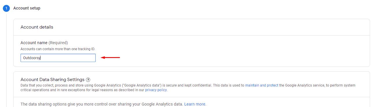 Google Analytics Account Setup - Account Name