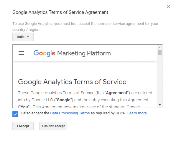 Google Analytics Terms of Service Agreement