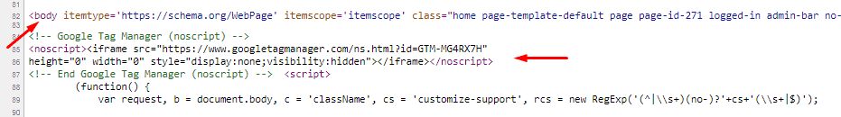 Google tag manager body code in page source code