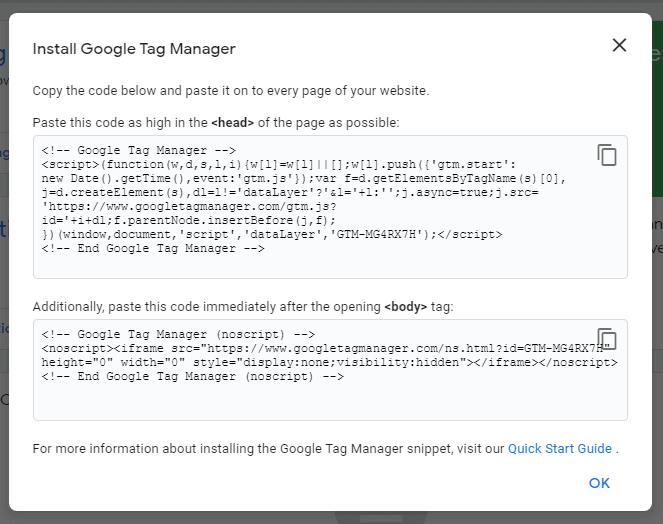 Google tag manager codes