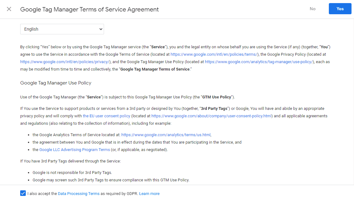 Google tag manager terms of service agreement