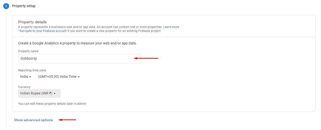 Property Name in Google Analytics