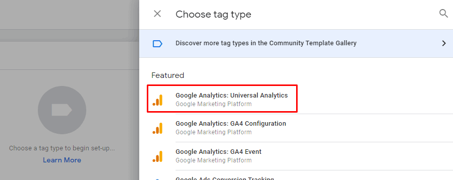 Select Universal Analytics tag in GTM