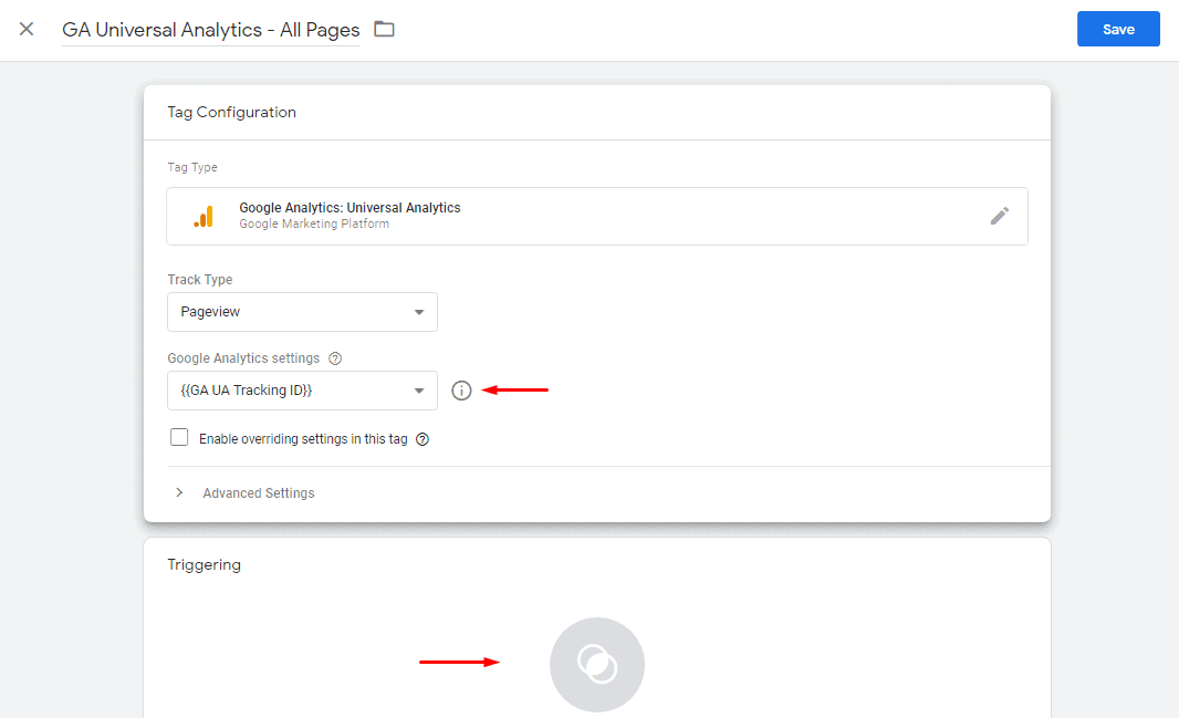 Select trigger for Universal analytics in GTM