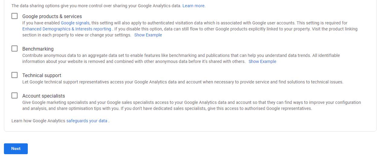 Sharing data with Google Analytics