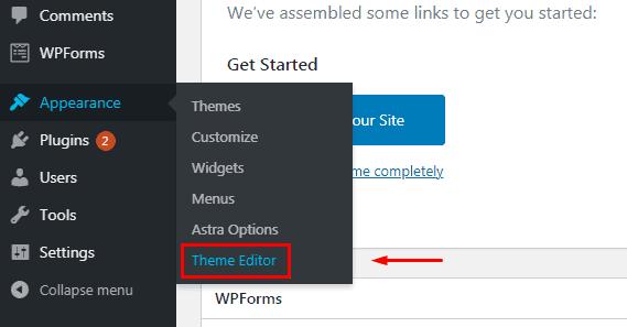 Theme Editor in WordPress Astra theme