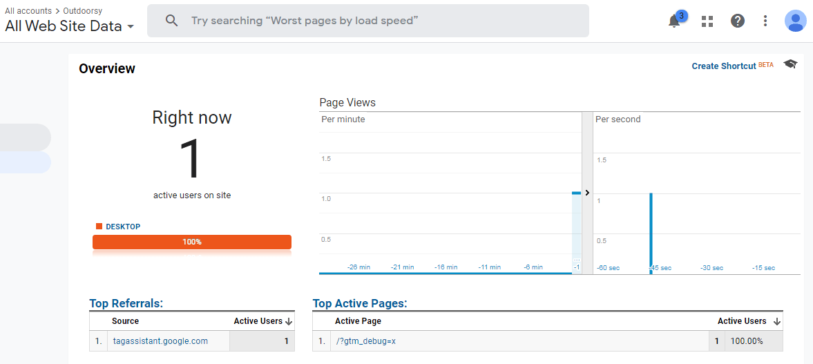 User in Universal analytics real time report