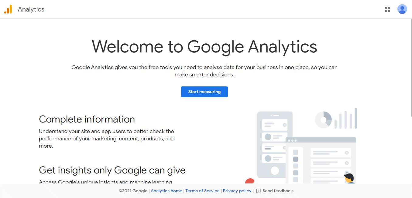 Welcome to Google Analytics Screen